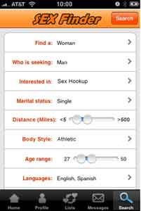 Sex Finder Local Search Screen